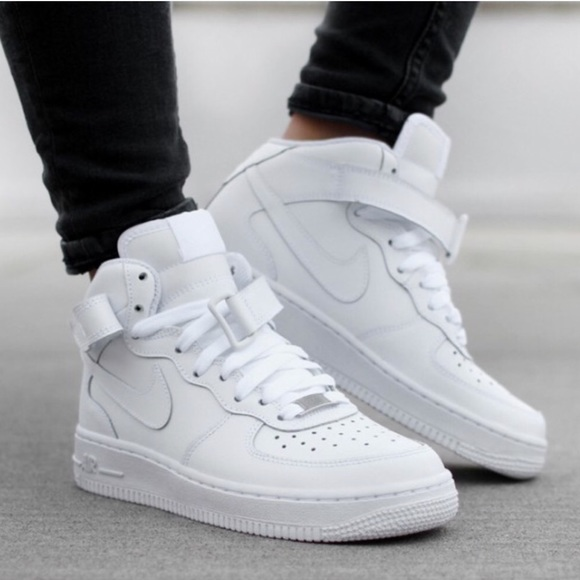 size 40 3c6ae 4ad6d NIKE AIR FORCE 1 MID ALL WHITE WOMENS SHOES NEW NWT